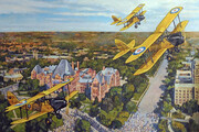 """""""De Havilland DH60G Moth Biplanes of No. 110 (City of Toronto) Squadron RCAF fly over Queens Park, Toronto - Coronation of King George VI  - May 12th 1937"""""""