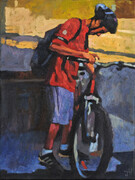 """Cyclist with Red Shirt"""